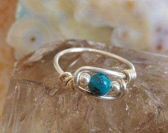 Natural Blue Turquoise Ring - Handmade Solid 925 Sterling Silver Ring - Choose US Size 2-12