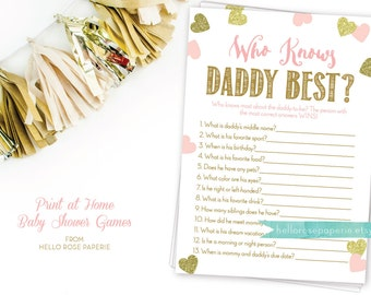 Pink and Gold Baby Shower Game . Who Knows Daddy Best Game . Printable Instant Download . Baby Shower Games Girl . Pink Gold Baby Shower