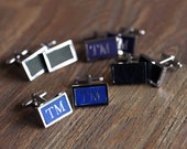 Personalised Leather Inlay Pair Of Cufflinks