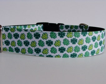 "Green Shamrock - Luck of the Irish Large Dog Collar - 1.5"" Wide -READY TO SHIP!"