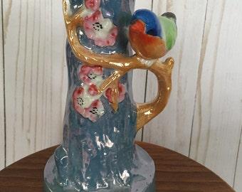 Vintage Lustreware Cherry Blossom Tree & Bird Vase
