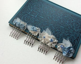 Small wedding hair combs, in light blue, set of 4 or individual, also in blush peach pink, gold, berry, teal - bridesmaids hair piece