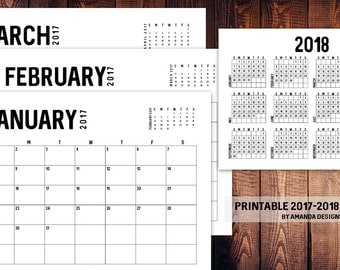 Printable Calendar 2017-2018, personal use only