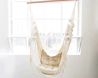 Deluxe Hanging HAMMOCK CHAIR Relax in Luxury and Comfort Shabby French Cream Great for Balconies and Pergola Areas