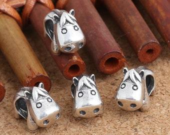 2 Sterling Silver Hippo Beads For European Charm Bracelet, Sterling Hippo Beads, 925 Silver Hippo Beads, Hippopotamus Bead, 4mm Hole - E321