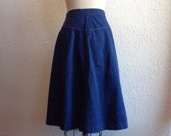 1970s Blue denim wrap skirt