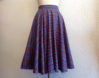 1970s plaid cotton circle skirt
