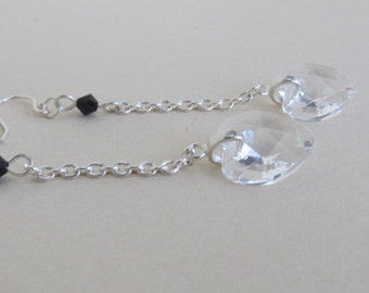 Dramatic Heart  Drops in Clear Crystal-Free Shipping