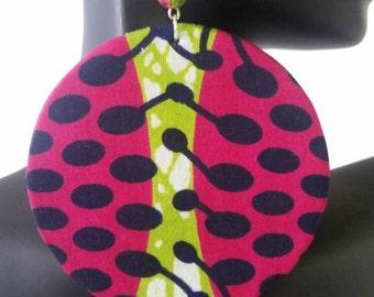 Ankara/ Kitenge/ Wax/ African/ Fabric/ Cotton/circle earrings