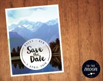 Mountain Watercolour Save the Dates Digital Print Ready File A6