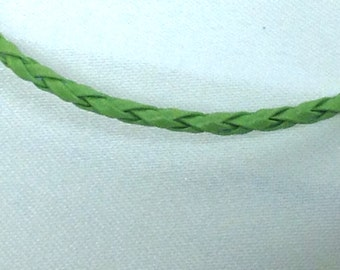 Green Leather Braided Bracelet , men , women, teens, simple , clean, wrist, gift