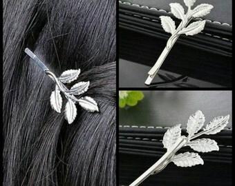 40% OFF Silver Leaf Hair Pin Pair