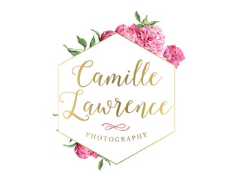 Logo Design Branding Package Premade Graphics Custom Text Gold Pink Floral