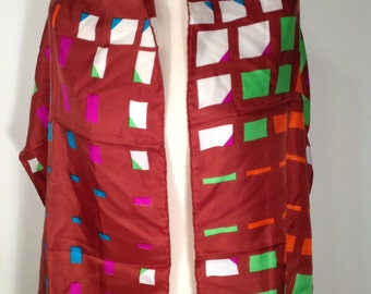 Jacques Fath Vintage Silk Scarf Brown Multi Color Abstract Geometric Print
