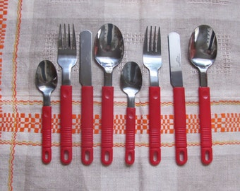 Vintage Rostfrei Inox Flatware 2 Sets of Fork, Knife, Tablespoon & Teaspoon - 8 Retro Stainless Steel Flatware with Red Plastic Handles