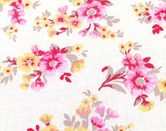 Pink Yellow Country Floral Cotton Fabric