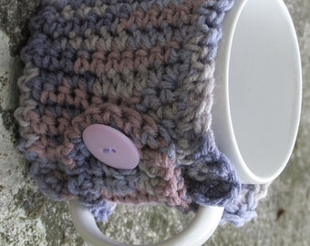 Multiple Purple Crochet Mug Cozy With Button Ready to Ship