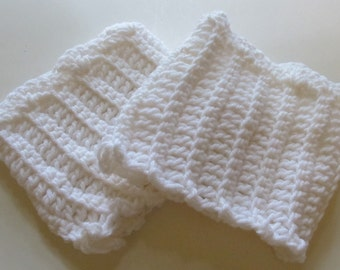 Crochet Boot Cuffs With Scallops in White Ready to Ship