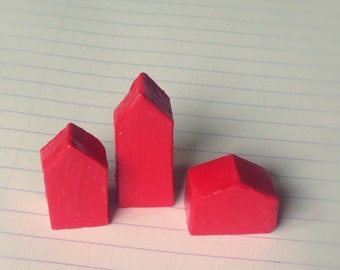 Small red polymer clay houses