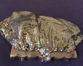 Vintage Gold Color Mesh Bag clutch Purse