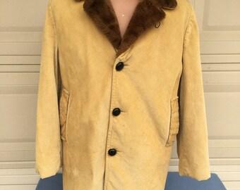 Vintage Men's Corduroy Overcoat . Tan Car Coat w/Faux Fur Lining by Campus Outwear Size 44