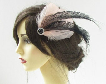 Blush Pink Black Silver Feather Fascinator Hair Clip Vintage 1920s Headpiece 329