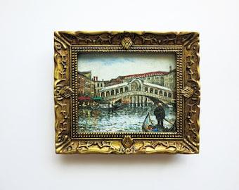 """Original miniature painting of """"Ponte Rialto"""" Venice"""