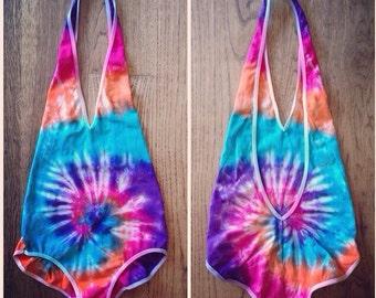 Tie Dye Bodysuit - Leotard - One Piece - Swim - Festival Apparel - Cotton/Spandex - Lowcut - Sizes available: XS, S, M, L, XL