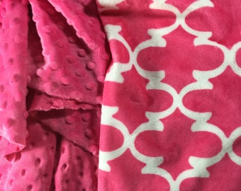 Pink Lattice Baby Blanket Hot Pink Blanket Bright Pink Blanket Pink Nursery Pink Decor Pink Lattice Decor Fuschia Minky Personalized Blanket