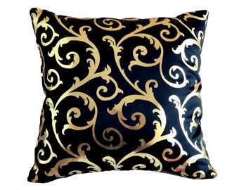 Pillow Cover, Shiny Gold Pillow, Navy Blue Pillow, Damask Cushion Cover, Satin Throw Pillow, Accent Pillow, Decorative Pillow Sparkle Pillow