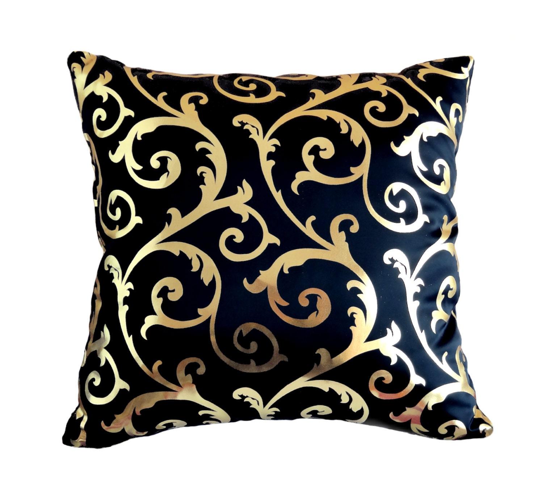 Pillow Cover Shiny Gold Pillow Navy Blue Pillow Damask