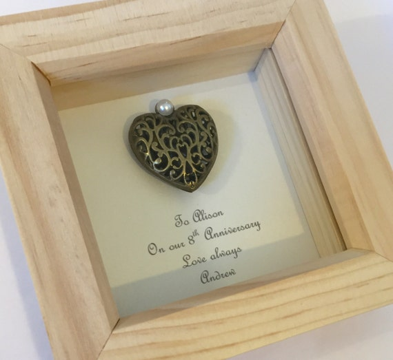 Brass Gifts For Wedding Anniversary: 8th Bronze Wedding Anniversary Gift Framed 8th Anniversary
