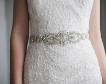 Pearl Wedding Belt | Crystal and Pearl Bridal Sash Belt | Rhinestone Wedding Dress Belt | Harper Sash