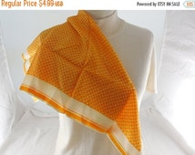 """ON SALE Vintage Orange/Gold & Cream Abstract Pattern Silky Polyester Scarf 23"""" x23"""""""