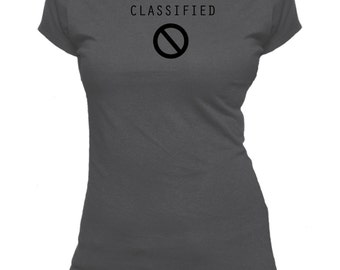 Classified. One Word. Ladies fitted t-shirt.