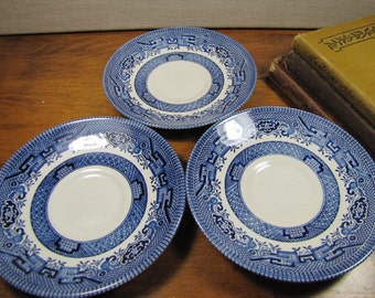 Churchill - England - Blue and White Saucers - Set of Three (3)