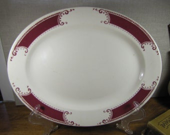 Vintage Homer Laughlin Large Serving Platter - Red and White - Band, Scrolls and Leaves