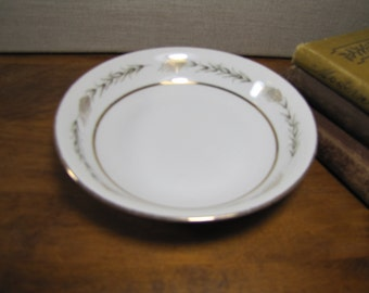 Vintage Empress China - Grano - Dessert Bowl - Fruit Bowl - Gold Wheat - Gray Leaves - Gold Accent