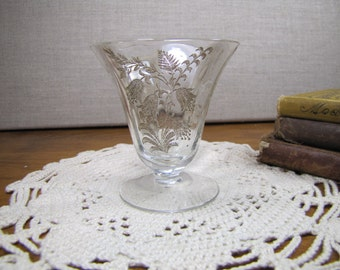 Vintage Gold Accent Etched Glass Footed Custard Dish