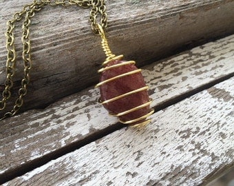 Red Aventurine Wire Wrapped Necklace