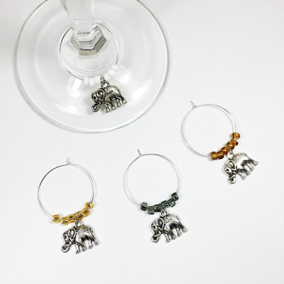 Silver elephant wine glass charms elephant d cor wine charms Silver elephant home decor