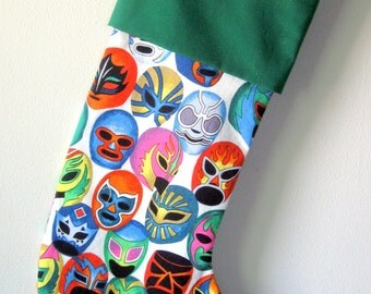 Lucha Libre Christmas stocking with green cuff