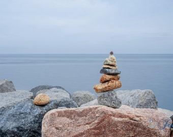 Peace Out ~ Point Judith, Rhode Island, Cairns, Beach, Photography, Wall Art, Nautical, Blue, Stones, Coastal Decor, Photograph, Artwork