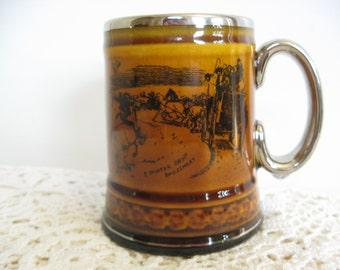 Ridgway Pottery Small Mug,Tankard,Stein,Vintage Amber Transferware,Coaching Days,Coaching Ways, Staffordshire, England