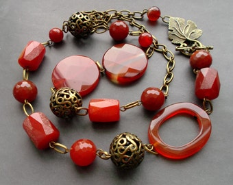 long necklace. Asymmetrical necklace. large stones. big stones.Gemstones. necklace Natural stones. Agate carnelian. details Antiqued Brass