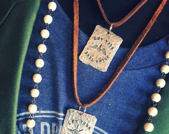 Handstamped Necklace, Silver Necklace, Hammered