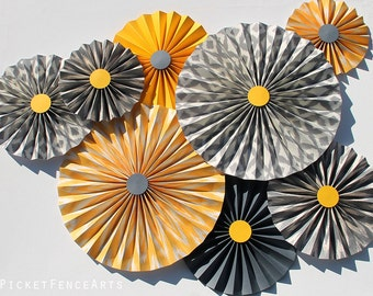 Yellow and Gray Paper Rosettes, Paper Fans Backdrop, Yellow and Gray Nursery Decor, Yellow and Gray Baby Shower