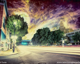 River of Lights, Valley of Vapors - Limited Edition Canvas Print - Hot Springs, Arkansas Army Navy Hospital