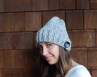 Slouchy Knit Hat ~ Gray Marble ~ Slouchy Hat with Button