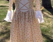 Custom Misses Colonial Party Dress with Modesty Scarf and Mob Cap